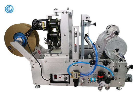 China Small Round Tube Labeling Machine Semi Automatic Self Adhesive With Date Printer factory