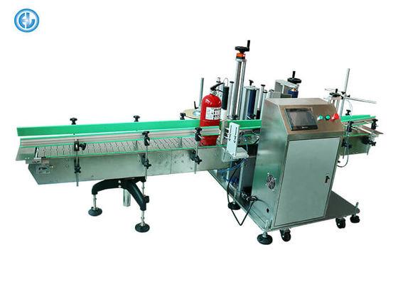 Fire Extinguisher Flat Bottle Labeling Machine , Oil Bucket Adhesive Labeling Machine
