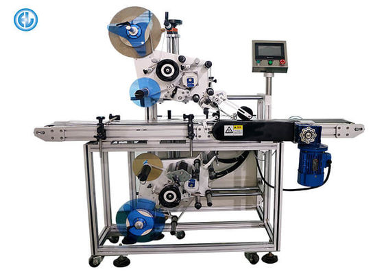 Two Heads Automatic Labeling Machine , Top And Bottom Flat Surface Label Applicator